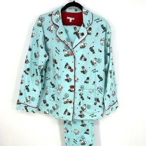 PJSalvage Cats Beauty Flannel Pajama Set Sleepwear